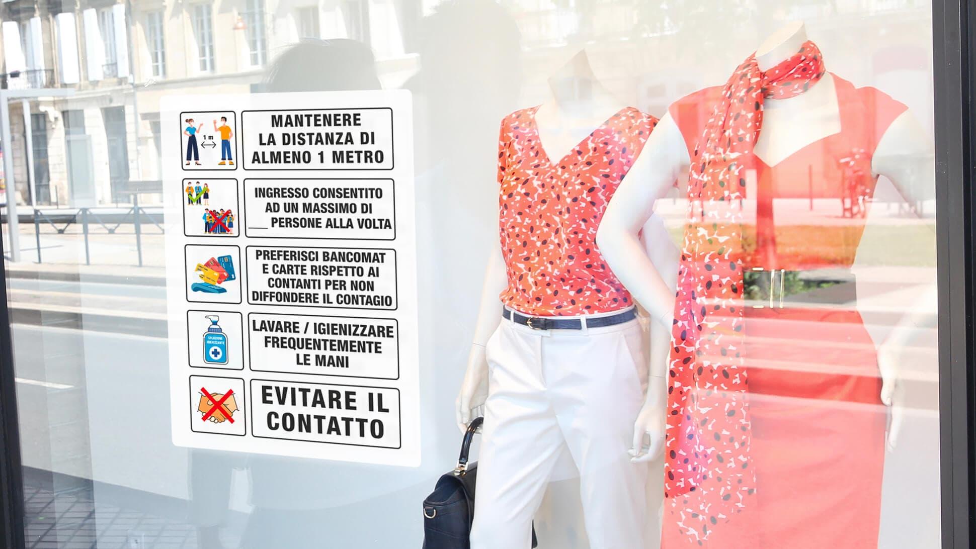 Indicazioni adesive covid per vetrine, negozi, locali, reception, | tictac.it