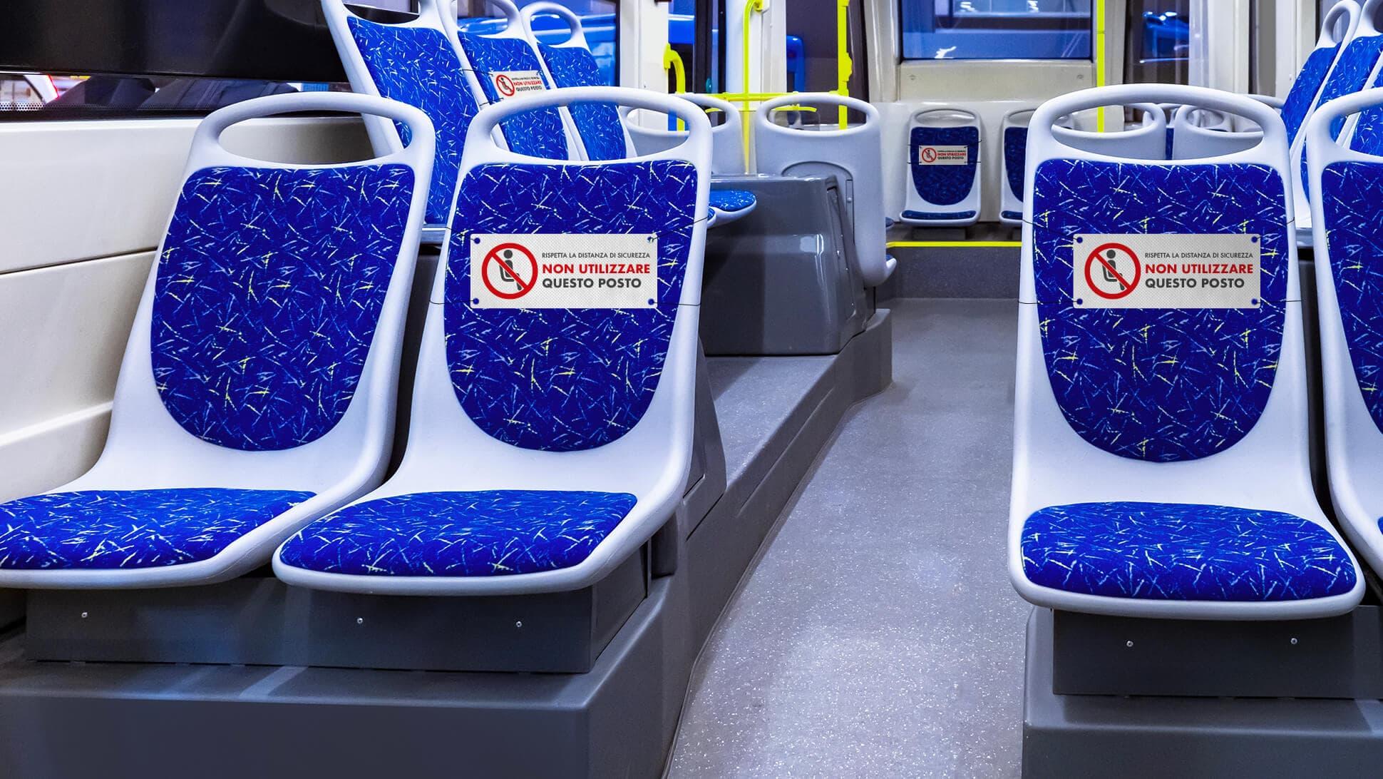 Segnaposto divieto di sedersi per mezzi pubblici, sale d'attesa, cinema, teatri, chiese | tictac.it