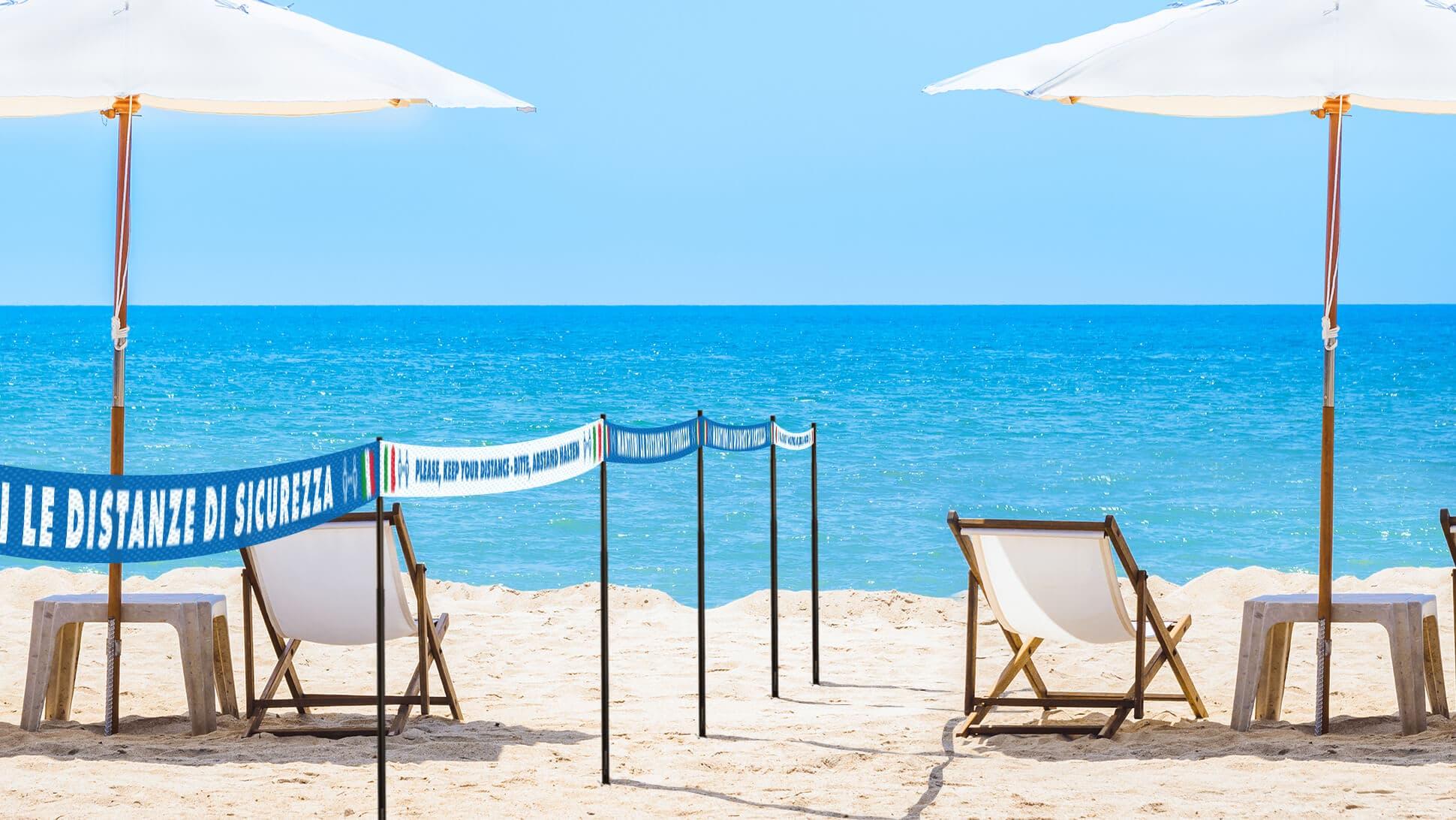 Bandelle per distanza di sicurezza in TNT per spiagge | tictac.it