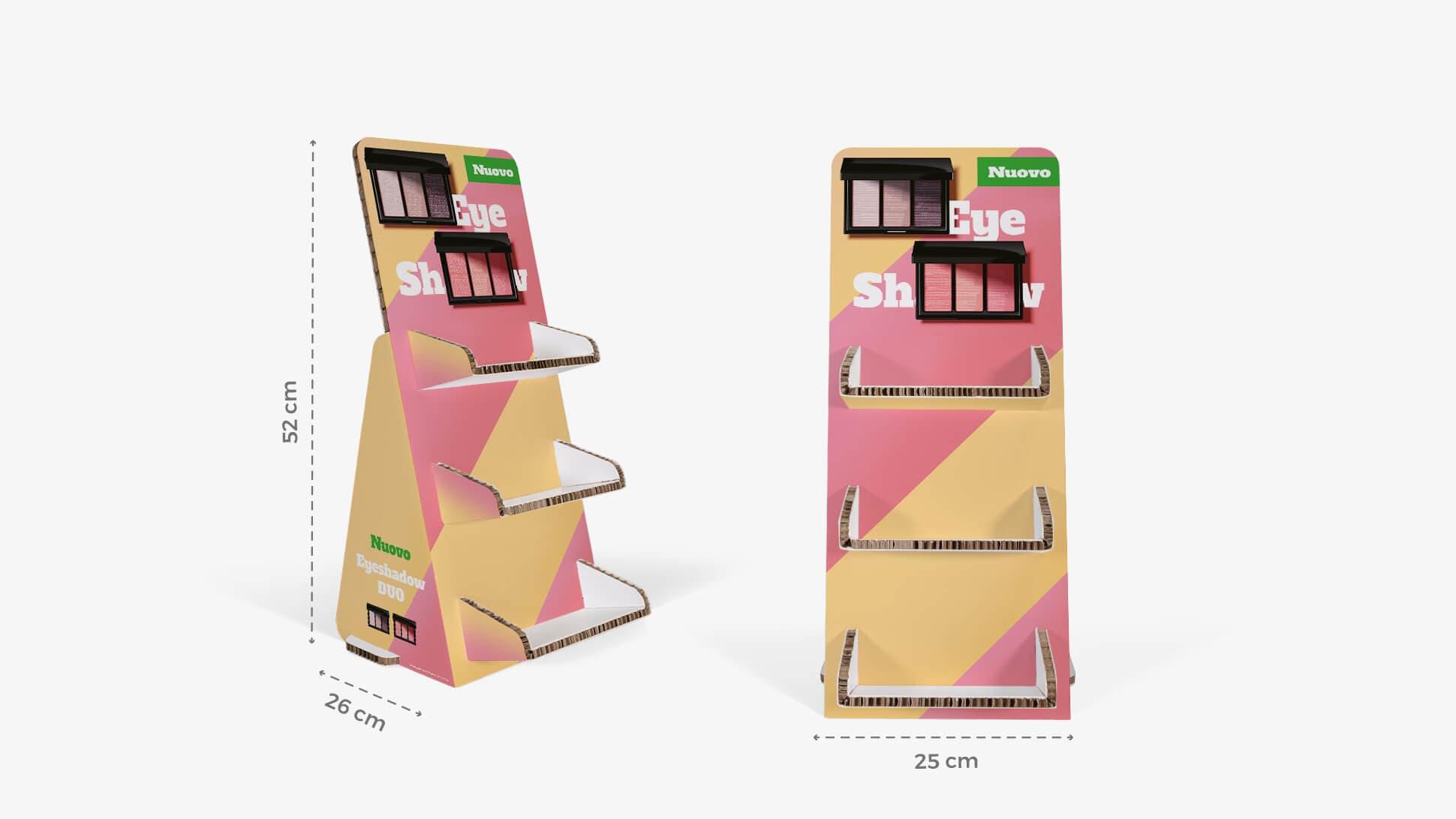 Espositore bianco in cartone con grafica personalizzabile | tictac.it