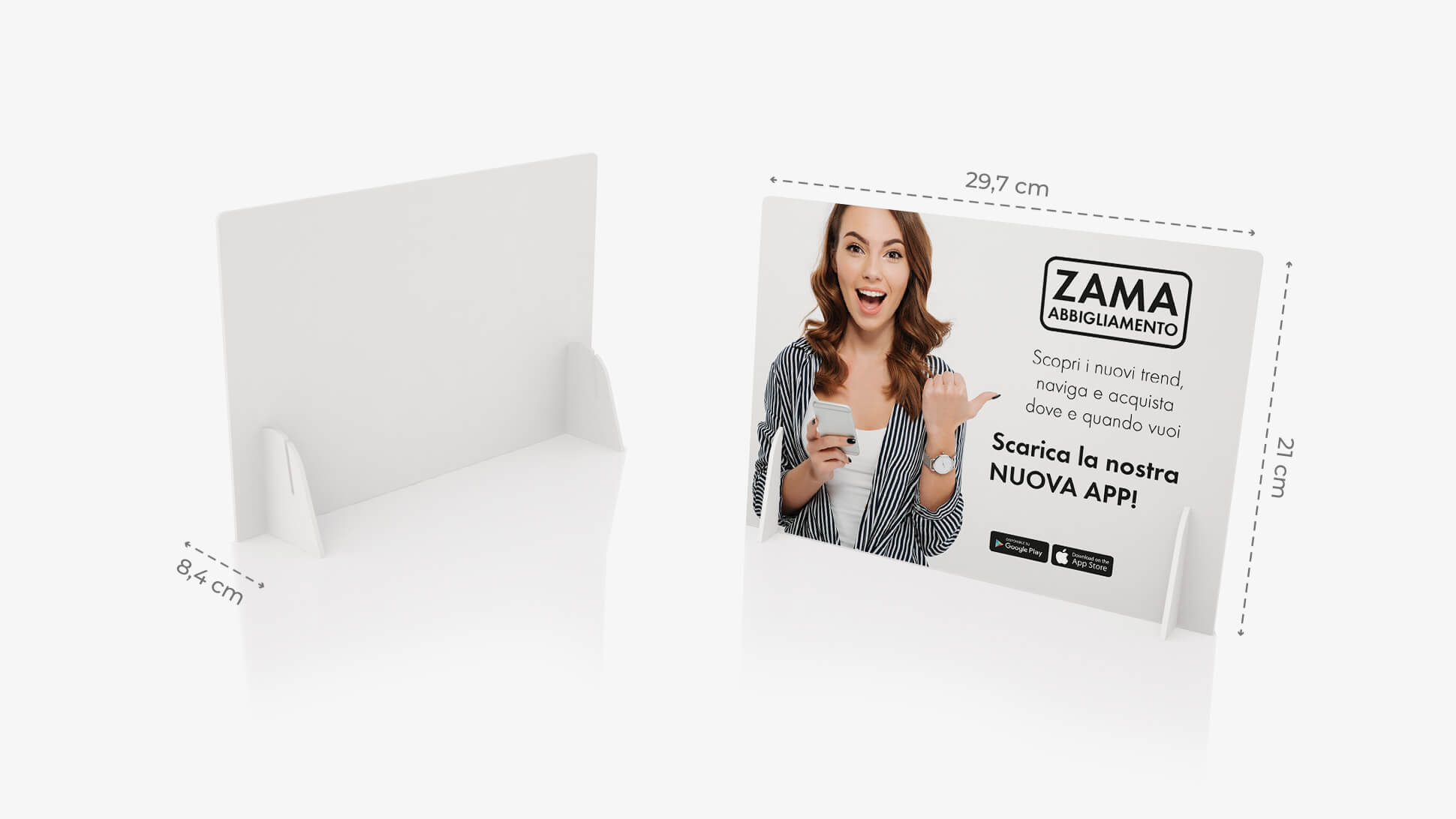 Display pvc bianco A4 orizzontale con grafica | tictac.it