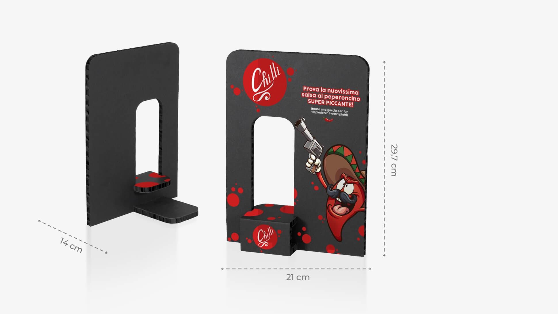 Espositore in cartone Kiwi con foro porta prodotti colore nero | tictac.it