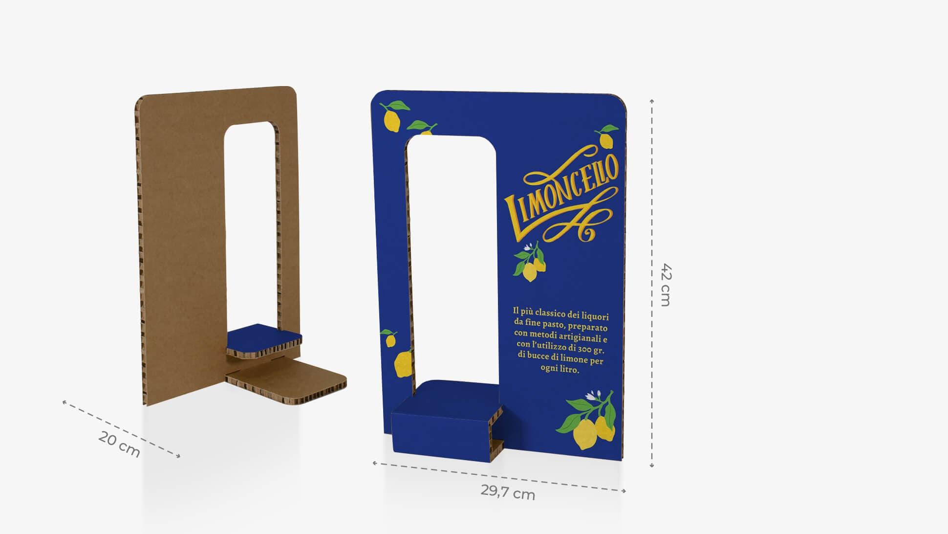 Espositore grande in cartone con foro a sinistra per prodotti vari | tictac.it