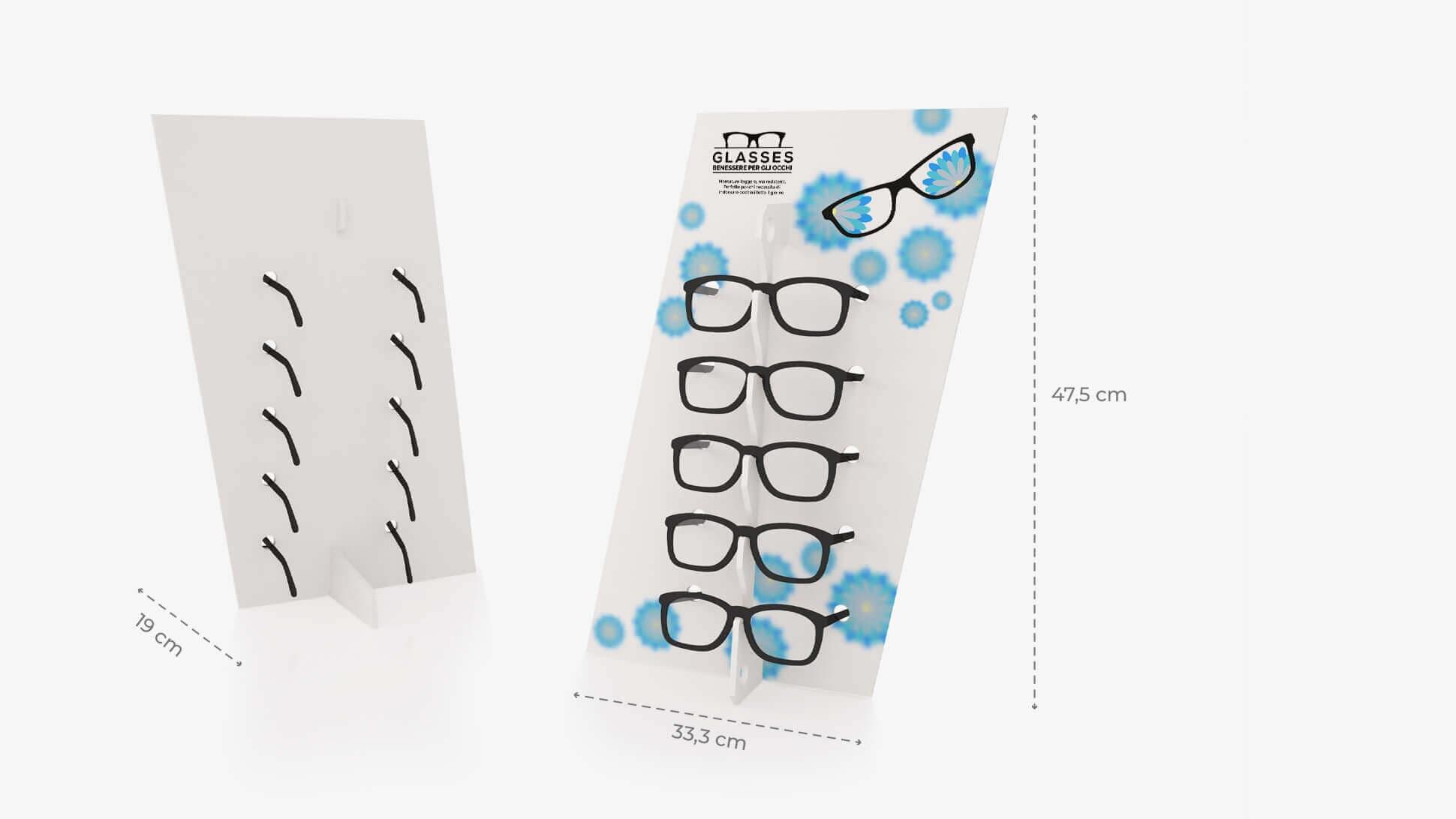 Espositore per occhiali Diago in Forex bianco con grafica personalizzata | tictac.it