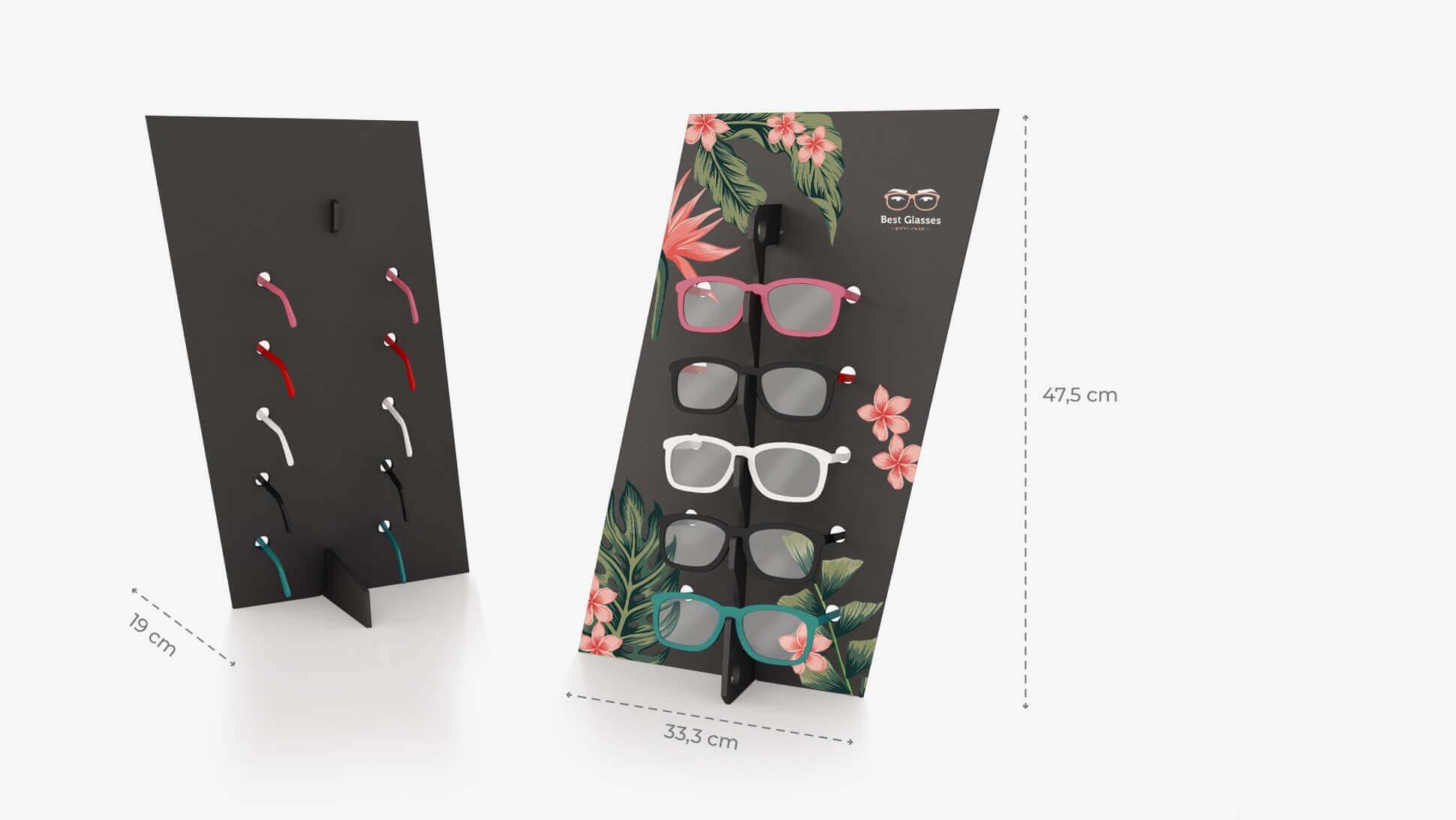 Espositore per occhiali Diago in Forex nero con grafica personalizzata | tictac.it