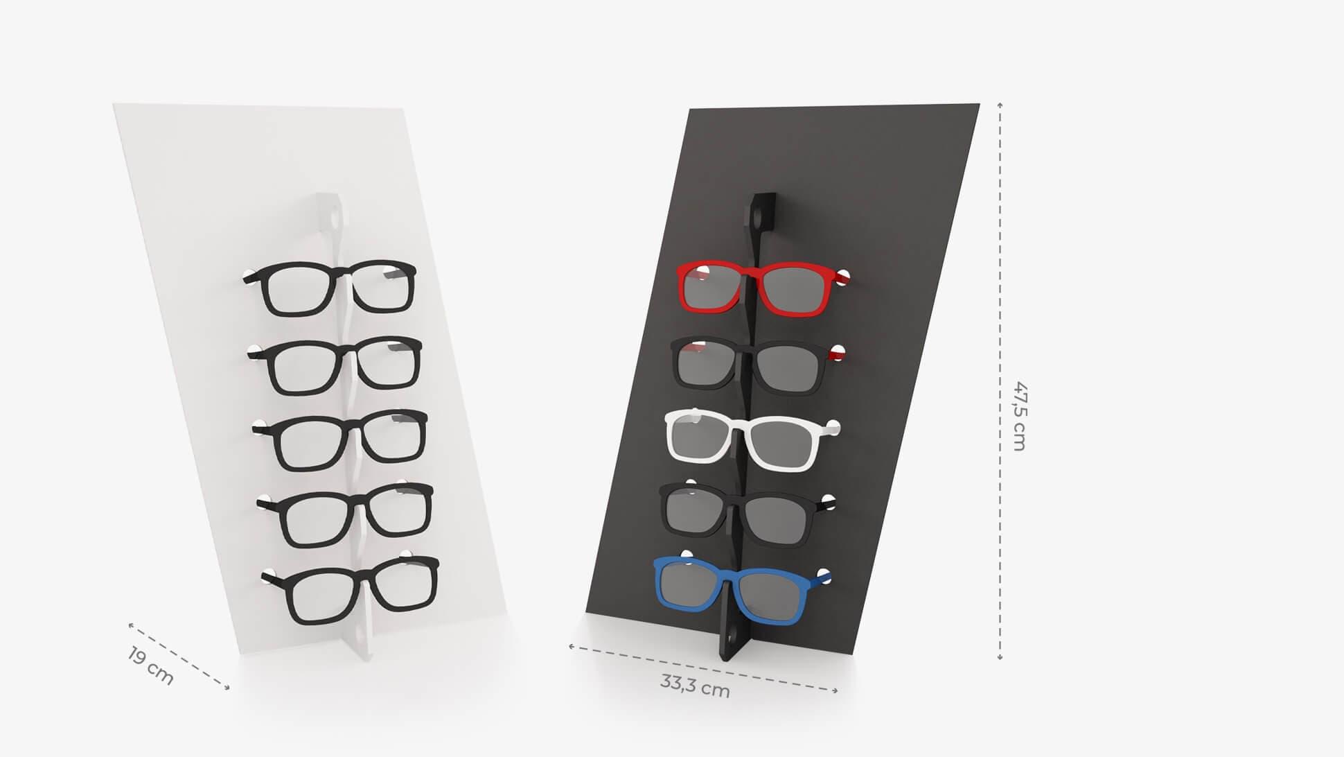 Portaocchiali da banco in Forex 3mm Diago disponibile nella variante bianca o nera | tictac.it