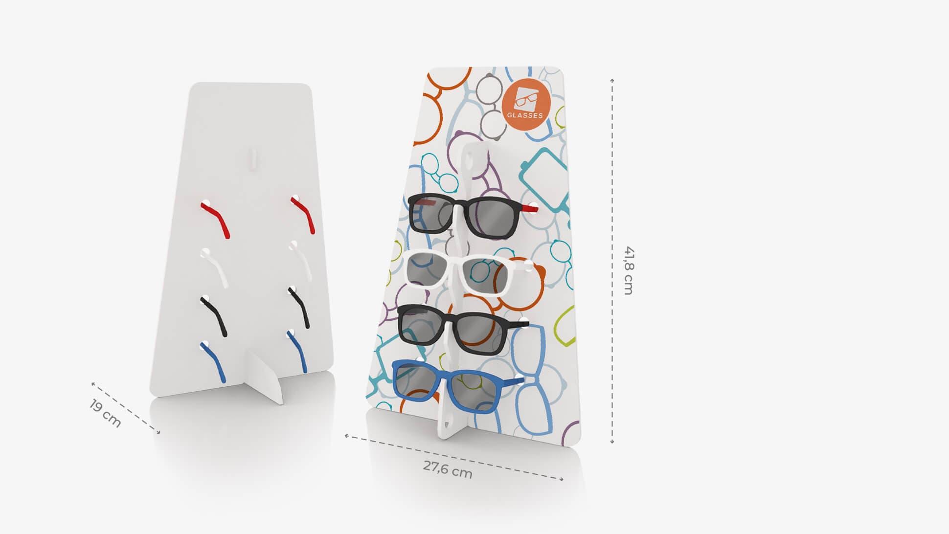 Espositore per occhiali Trapezio in Forex bianco con grafica personalizzata | tictac.it
