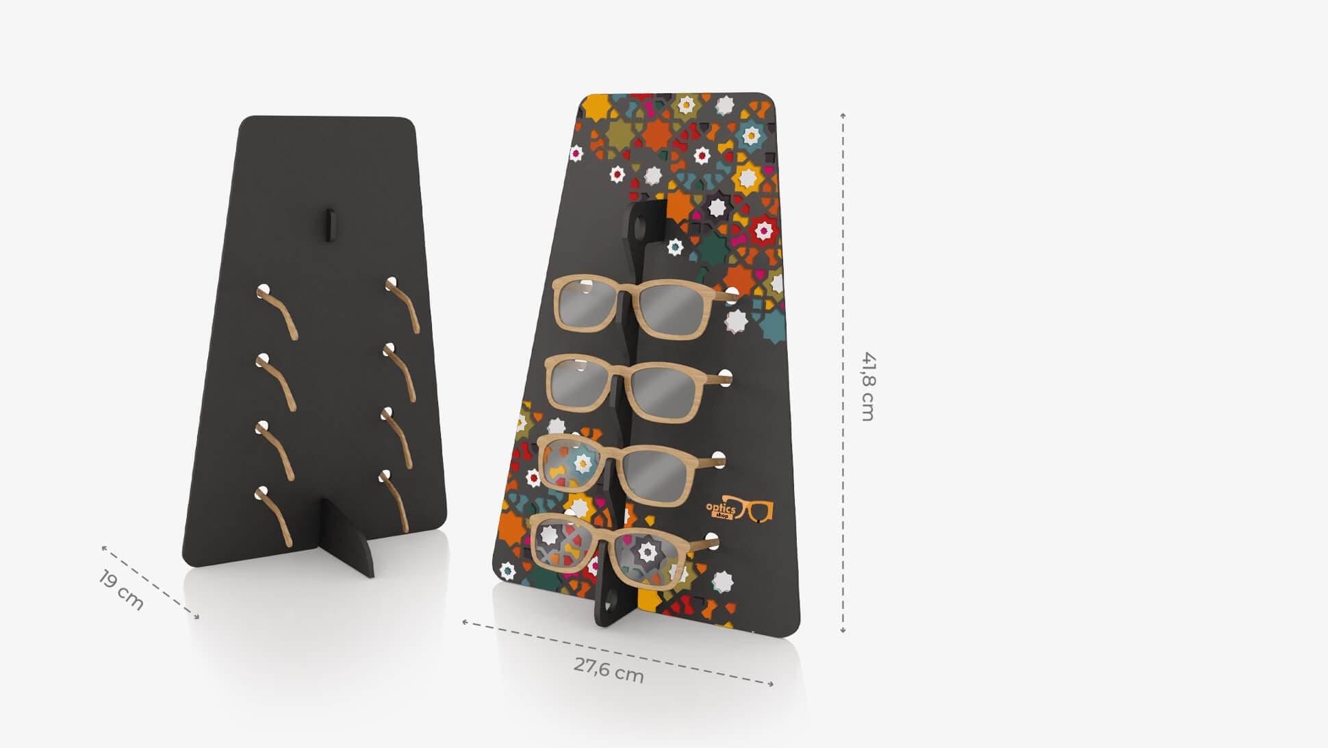 Espositore per occhiali Trapezio in Forex nero con grafica personalizzata | tictac.it