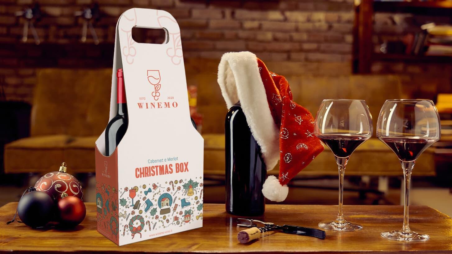Confezione per due bottiglie di vino edizione Natale | tictac.it