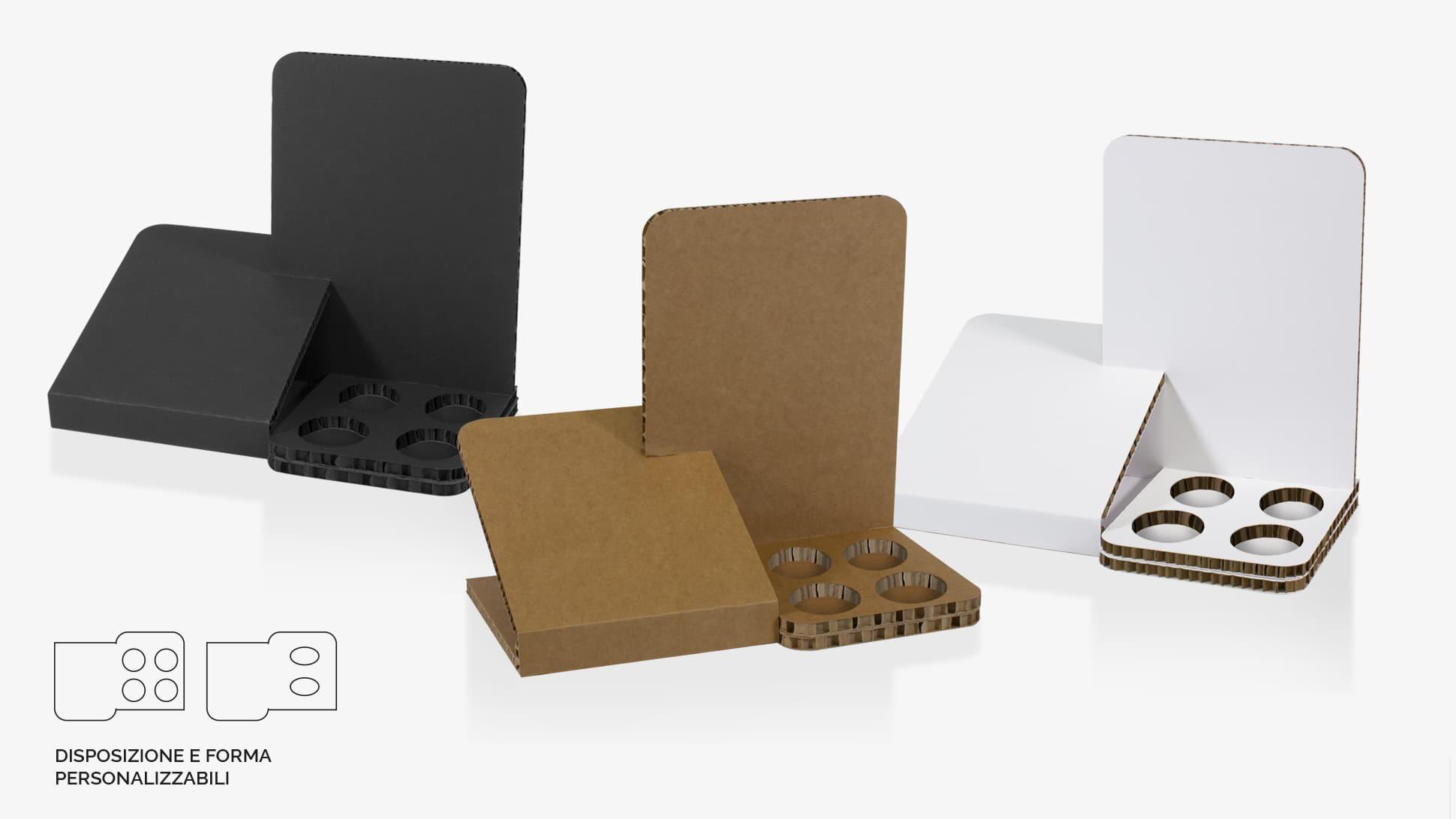Espositore da banco Gelso disponibile color avana o nero con fori personalizzabili alla base | tictac.it