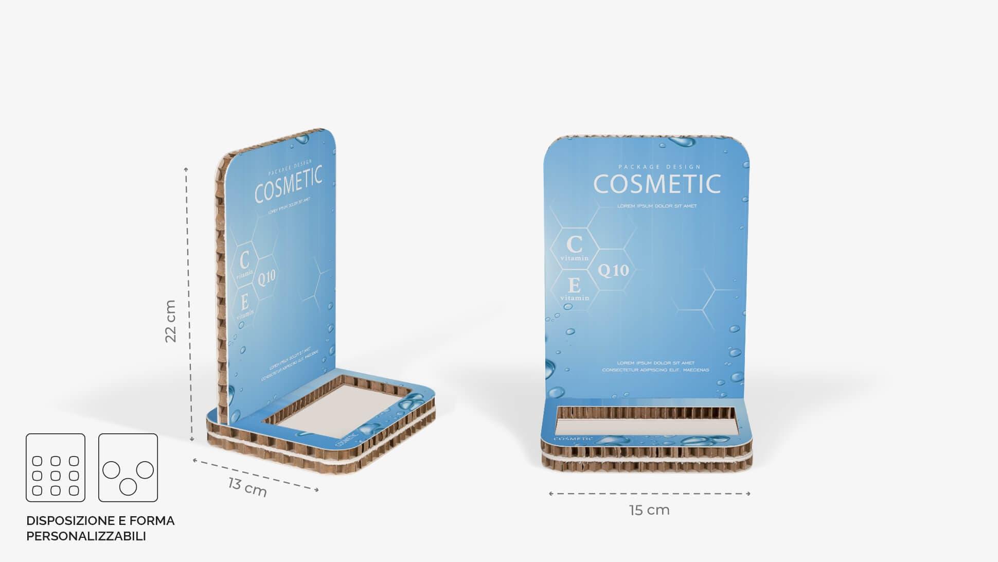 Display da banco in cartone alveolare 15x22 cm  per cosmetici | tictac.it