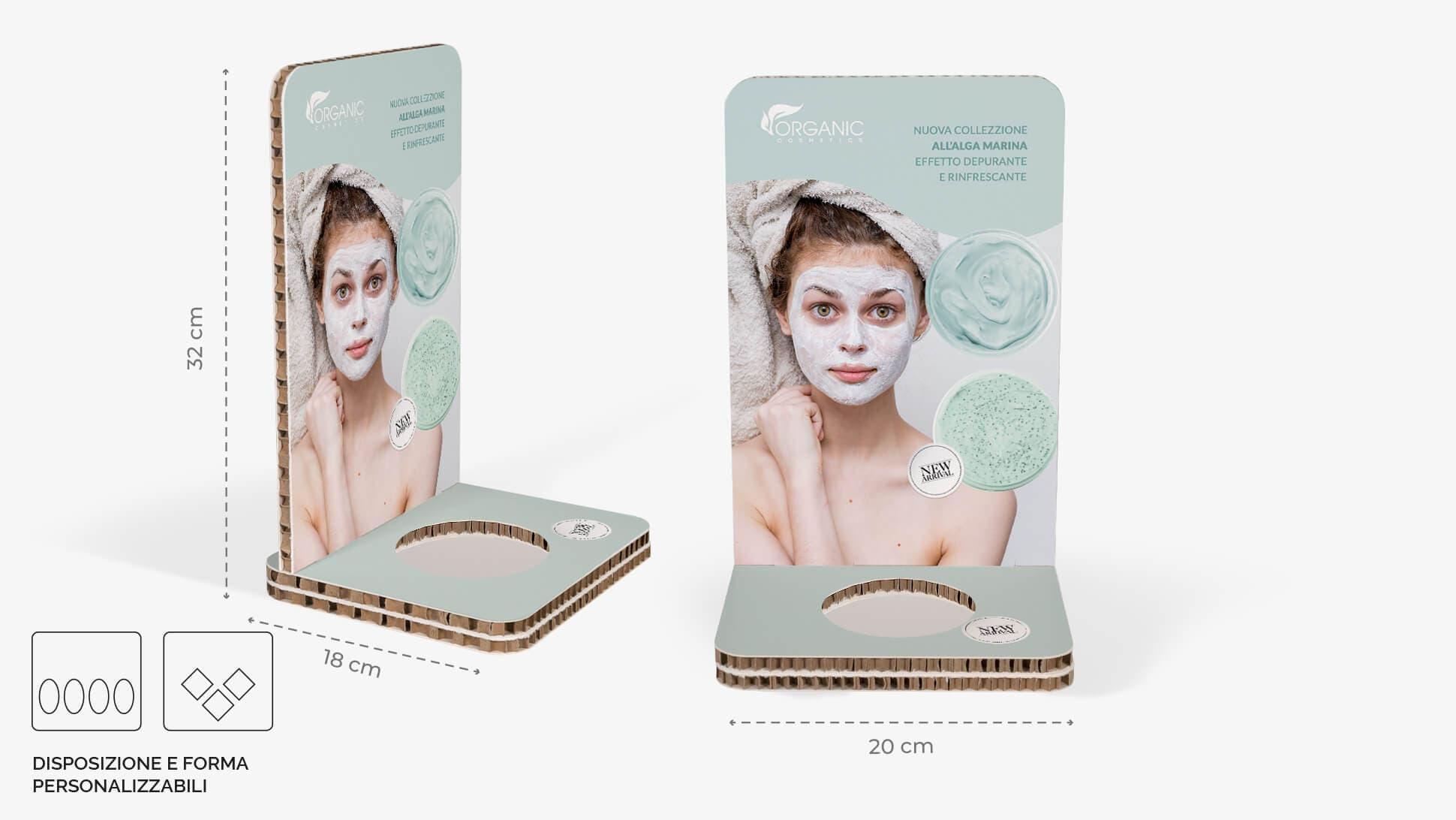 Display da banco in cartone alveolare 20x32 cm - prodotti cosmetici e cura personale    tictac.it
