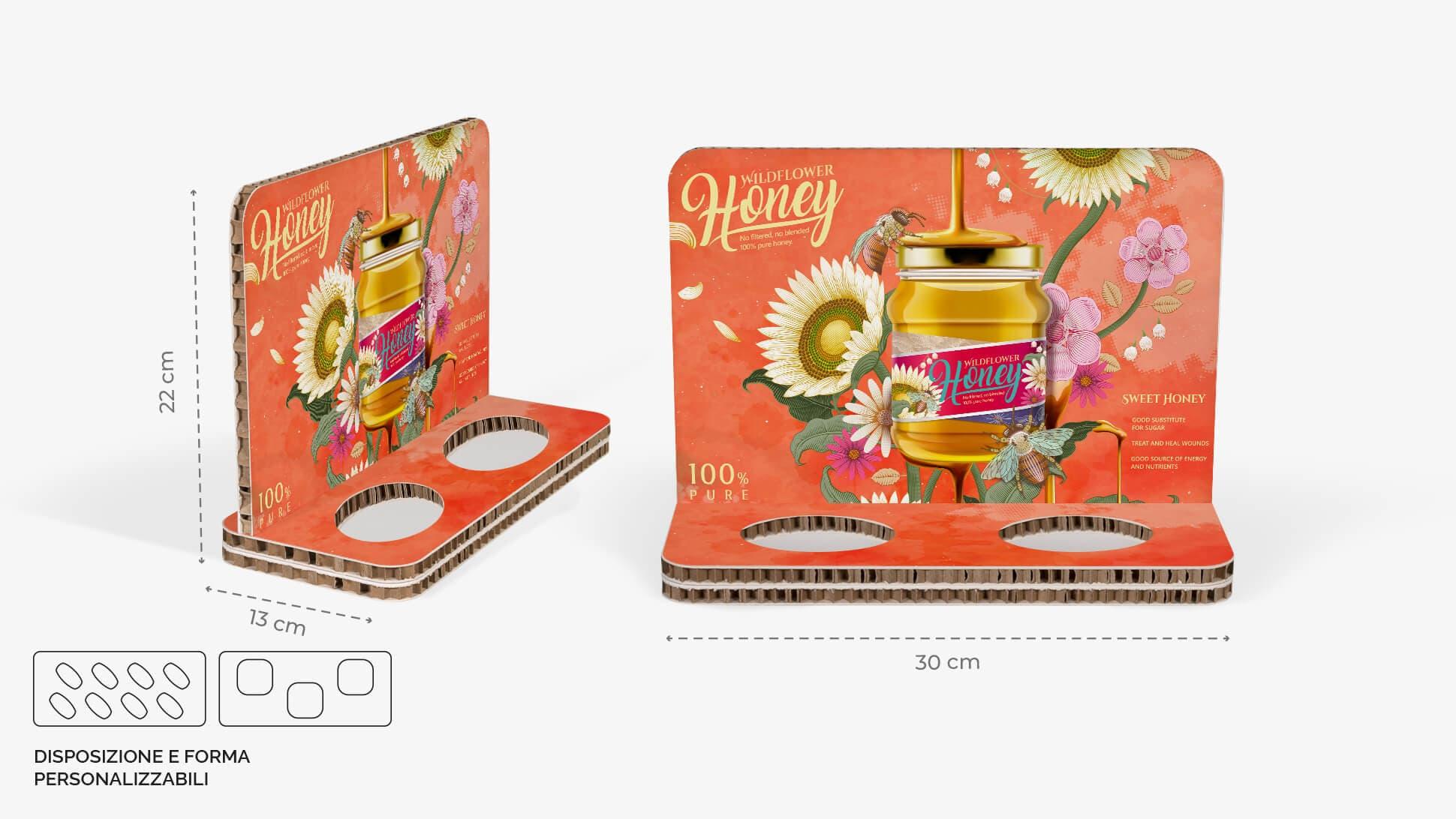 Display da banco in cartone alveolare 30x22 cm - grafica miele | tictac.it