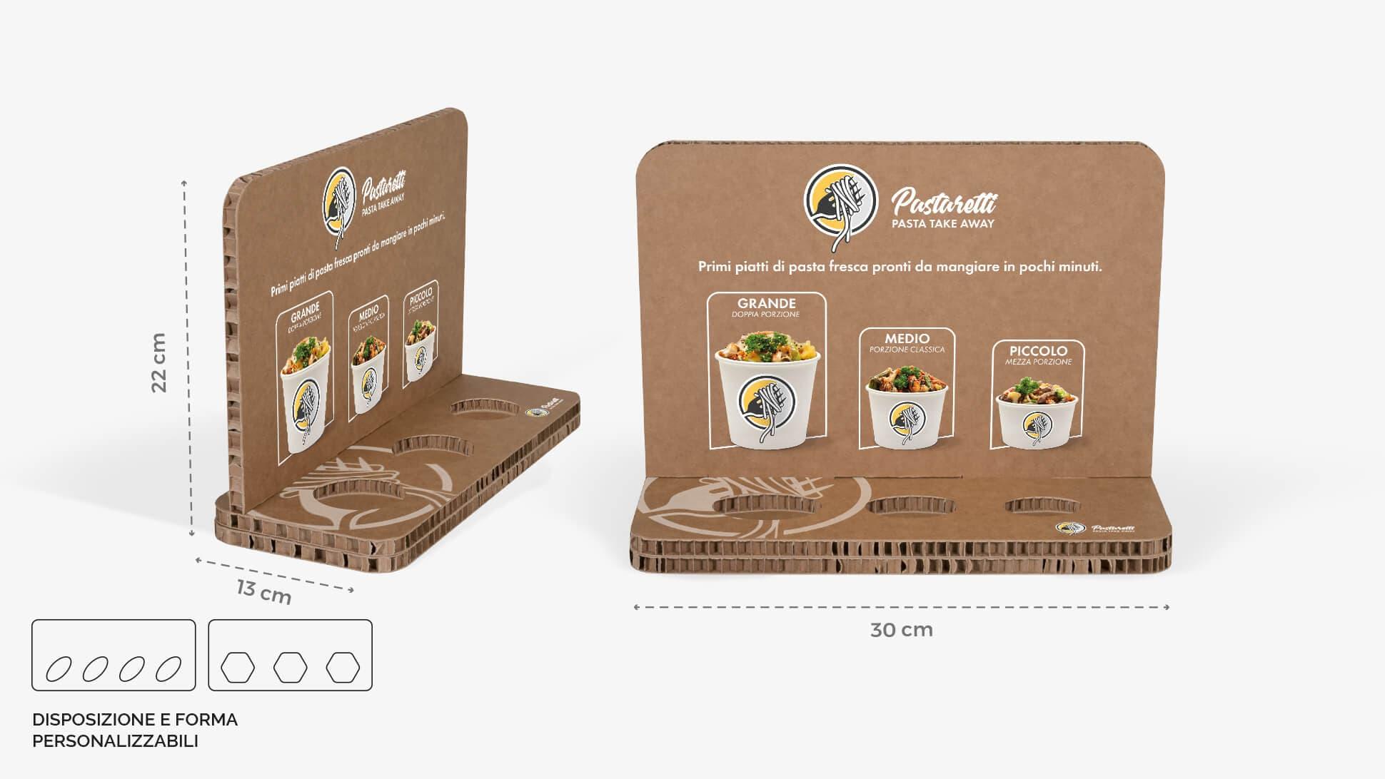 Espositore in cartone alveolare avana ideale per negozi e punti vendita | tictac.it