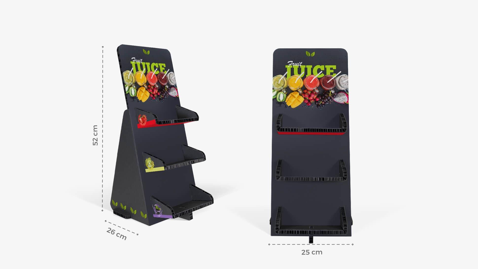Espositore nero portaoggetti con grafica personalizzabile | tictac.it