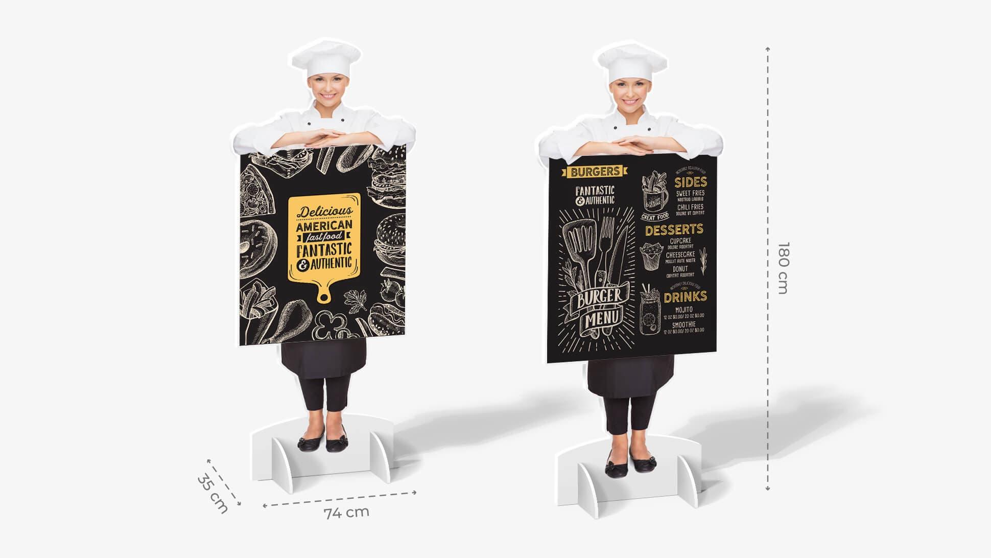 Sagome prestampate autoportanti in polionda con cuoca e grafica | tictac.it