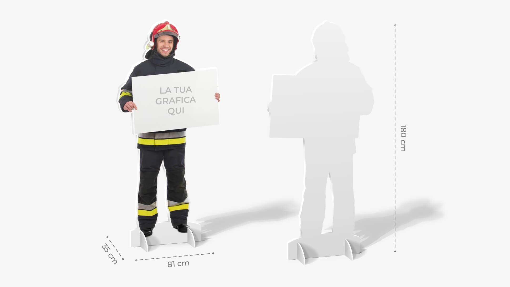 Sagome prestampate autoportanti in polionda con pompiere | tictac.it