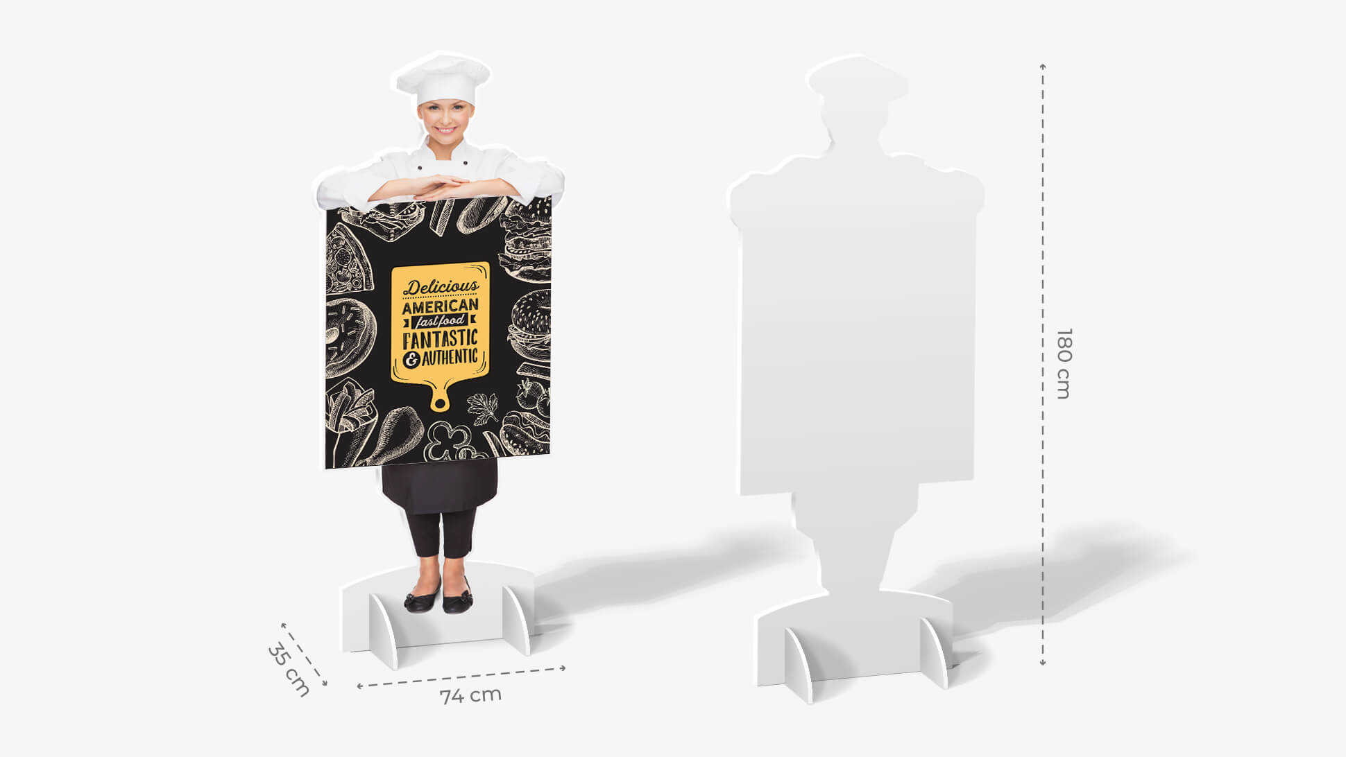 Sagome prestampate autoportanti in laminil con cuoca e grafica | tictac.it