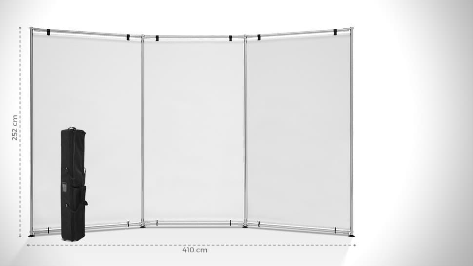 Parete espositiva a onda 252x410 cm | tictac.it