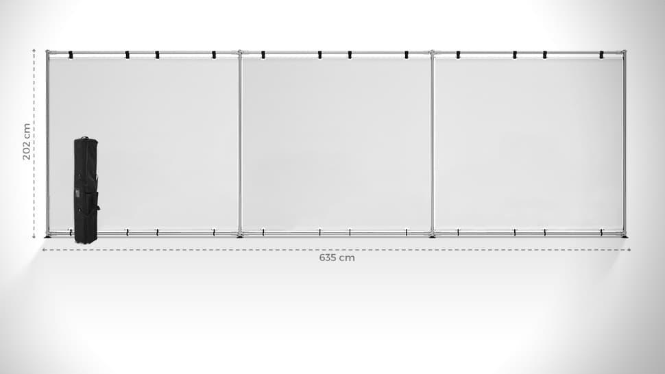 Parete espositiva 252x785 cm personalizzabile | tictac.it