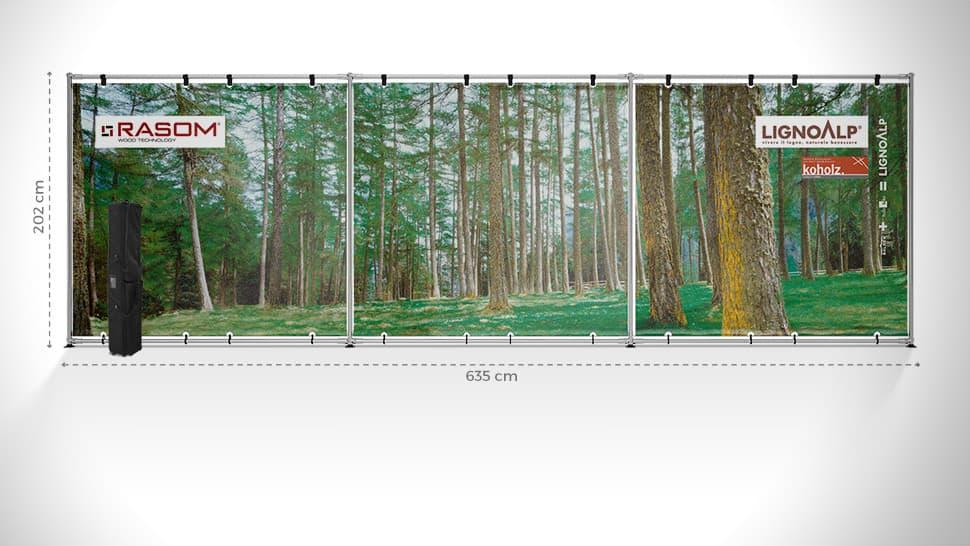 Parete espositiva 252x785 cm | tictac.it
