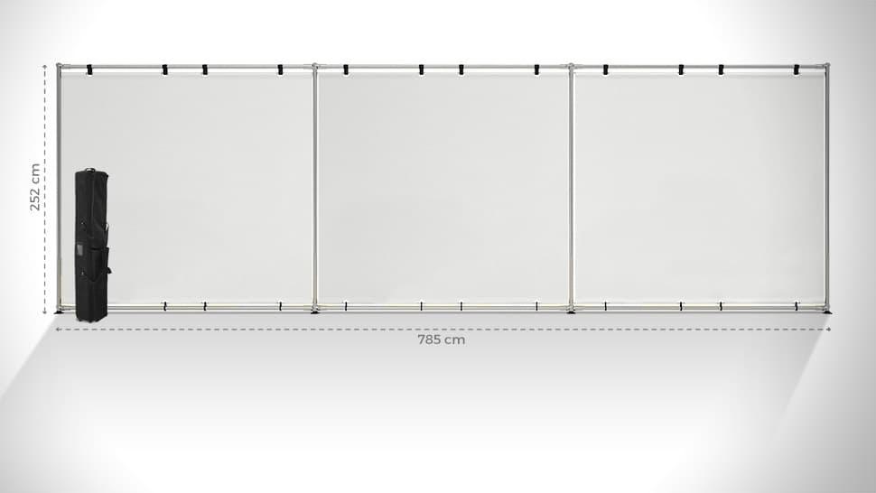 Parete espositiva maxi 252x785 cm personalizzabile | tictac.it