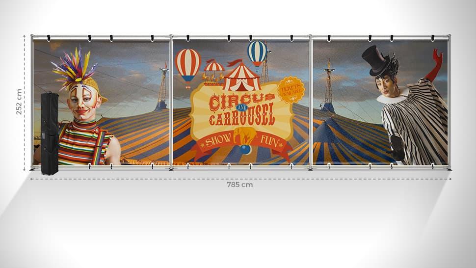Parete espositiva maxi 252x785 cm | tictac.it