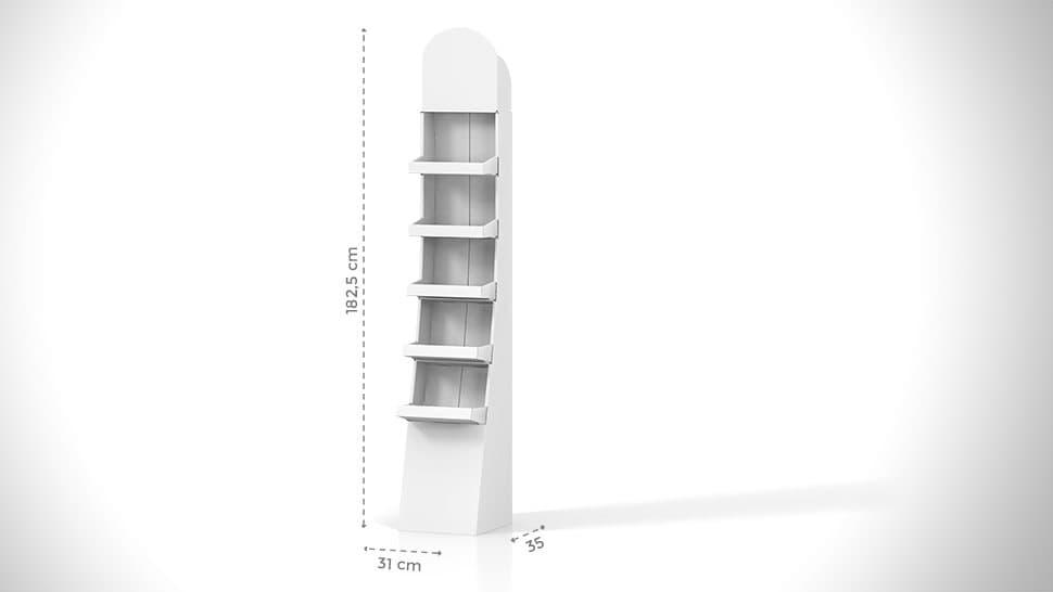 Espositore prodotti da terra personalizzabile h182,5 cm | tictac.it