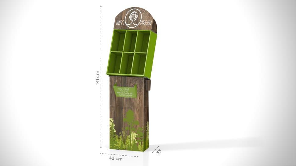 Portaprodotti da terra in cartone grafica verde | tictac.it