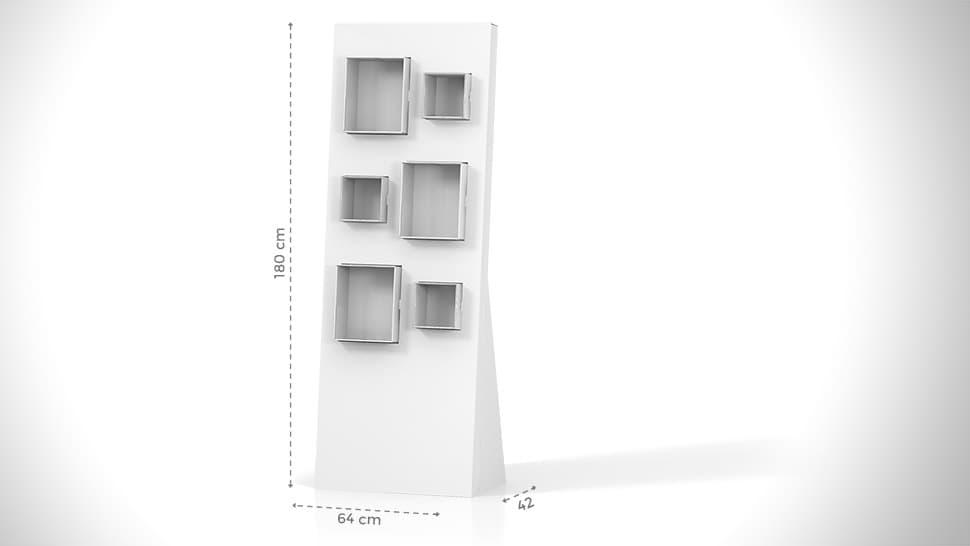 Portaprodotti da terra con 6 ripostigli – grafica personalizzata | tictac.it