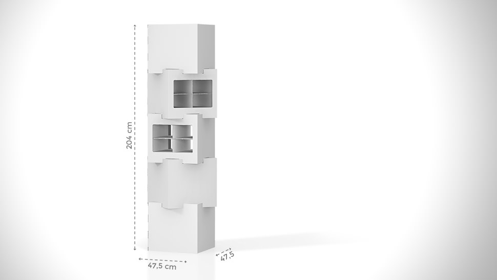 Espositore prodotti personalizzabile con 4 cubi sovrapposti h204 cm | tictac.it