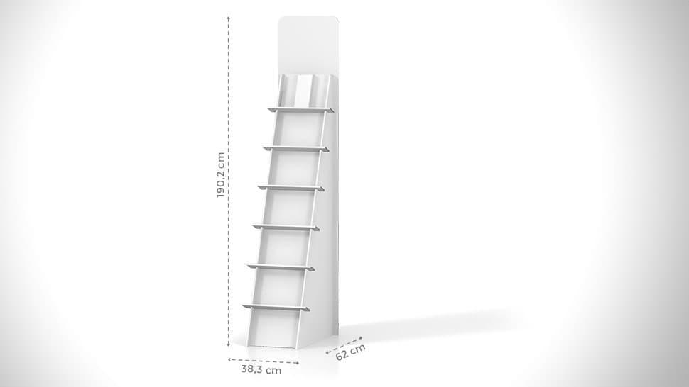 Portaprodotti inclinato con scaffalatura h190cm – grafica personalizzata | tictac.it