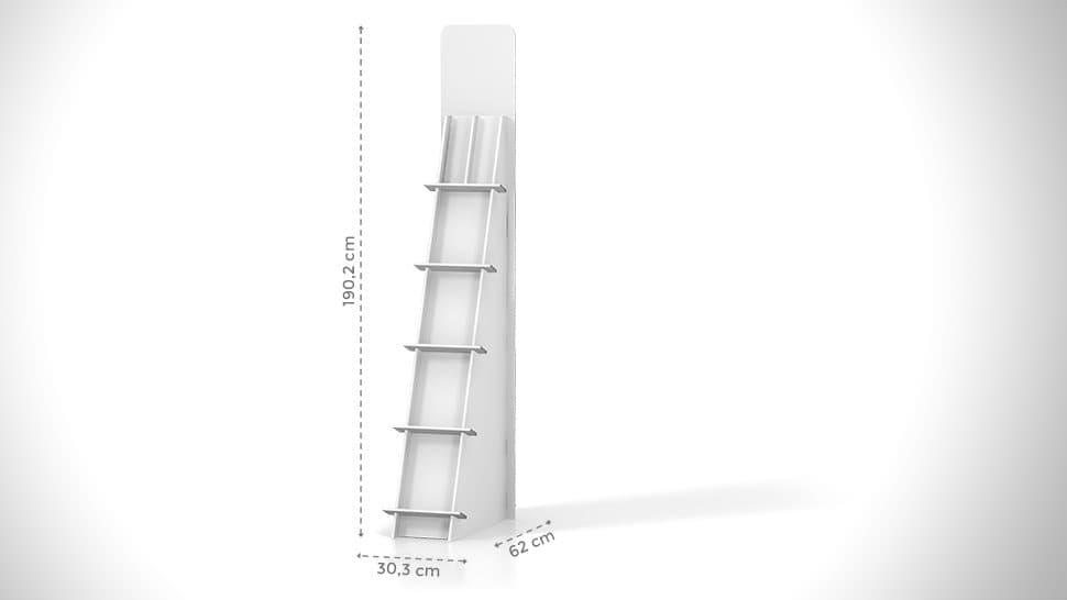 Portaprodotti inclinato con scaffali h190cm – grafica personalizzata | tictac.it