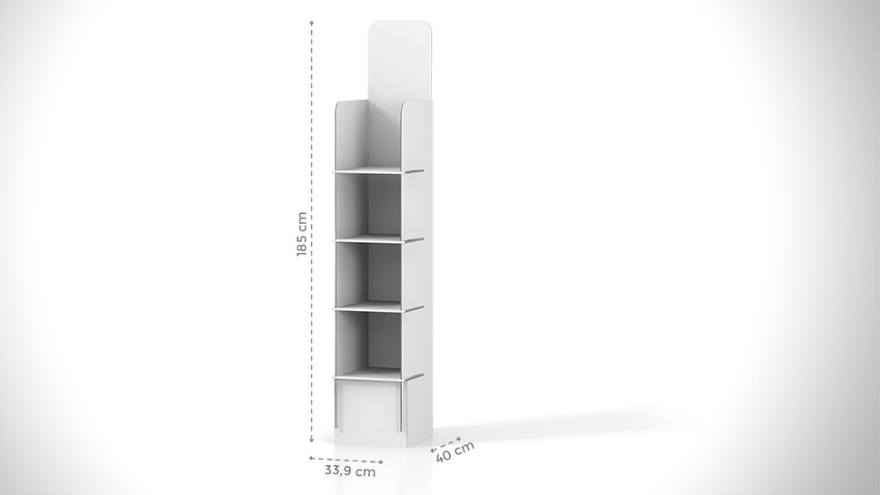 Espositore prodotti 185x46,4 cm con grafica personalizzata | tictac.it