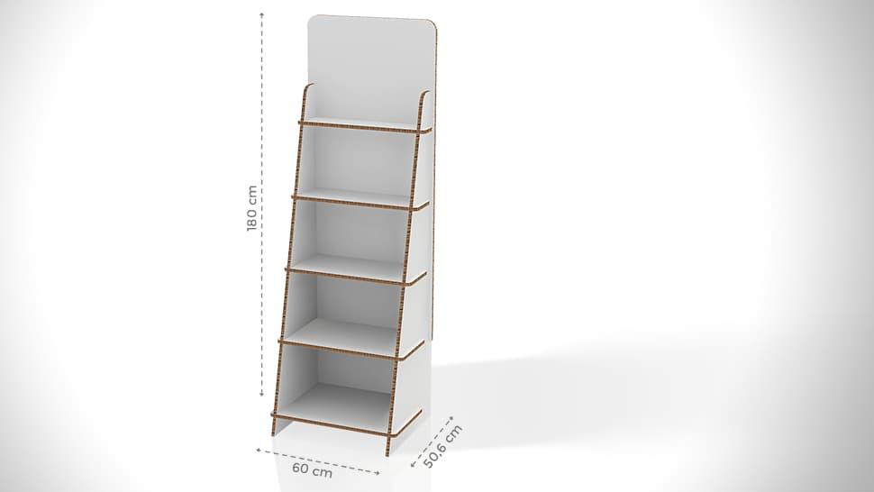 Espositore con scaffali 180x60 cm personalizzabile | tictac.it