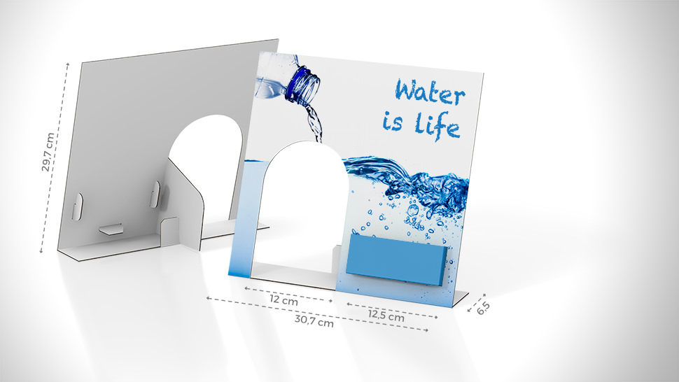 Display acqua con tasca a destra | tictac.it