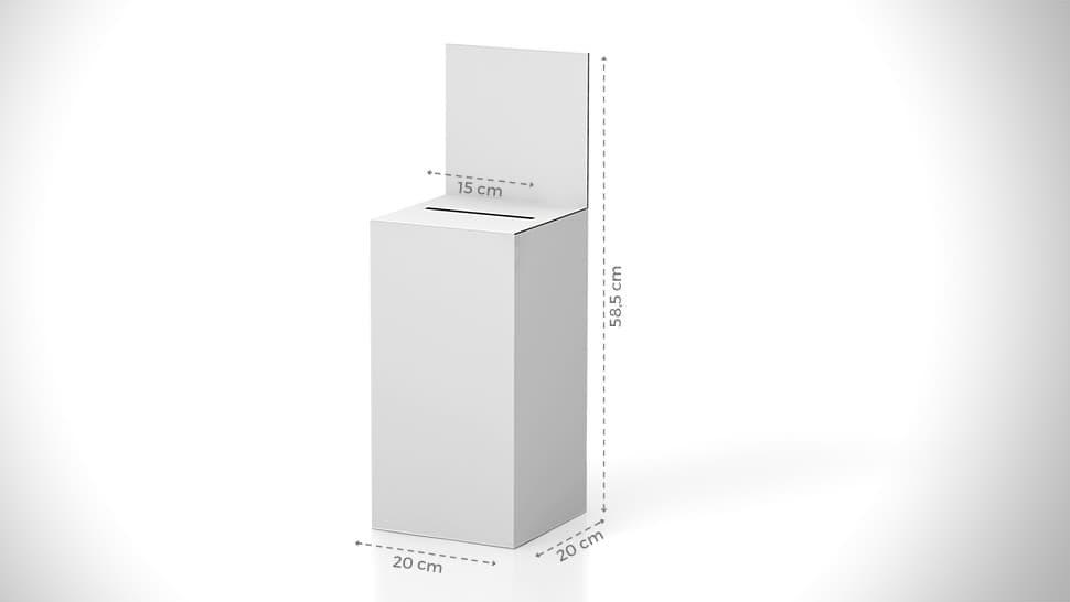 Urna da banco 58,5x20 cm con grafica personalizzabile | tictac.it