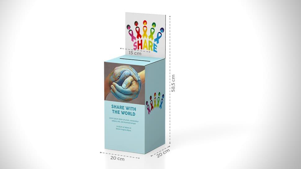 Urna da banco 58,5x20 cm per associazioni umanitarie | tictac.it