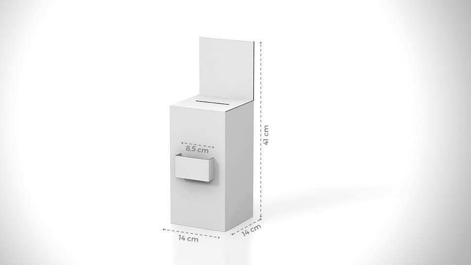 Urna da banco 41x14 cm personalizzabile con taschina centrale | tictac.it
