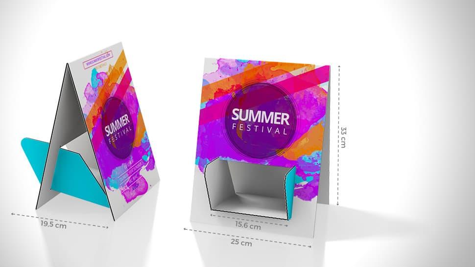 Portadepliant da tavolo bifacciale con grafica summer festival | tictac.it