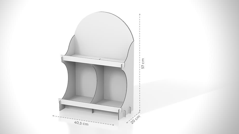 Vetrina espositiva da banco in cartone con grafica personalizzata | tictac.it
