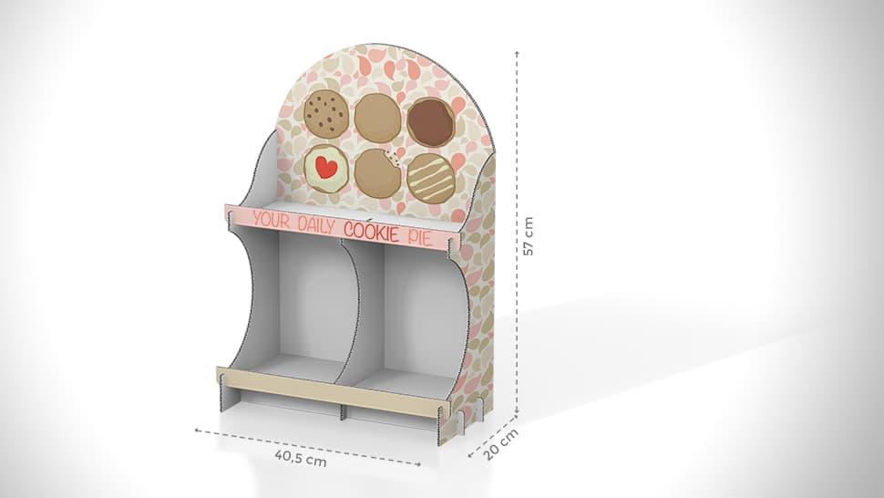Vetrina espositiva da banco in cartone per dolciumi | tictac.it