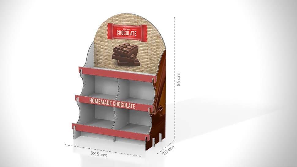 Vetrina espositiva da banco in cartone per cioccolato | tictac.it