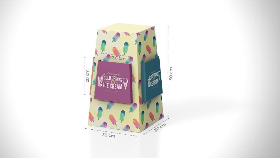 Espositore portavolantini da banco con grafica gelato | tictac.it
