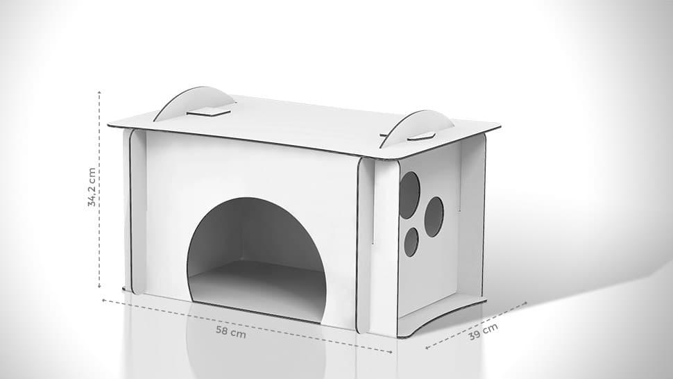 Cuccia per gatti in cartone 58x34,2x39 cm personalizzabile | tictac.it