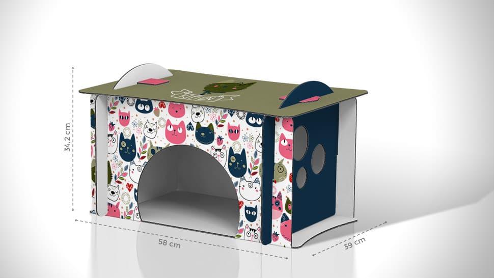 Cuccia per gatti in cartone 58x34,2x39 cm  | tictac.it