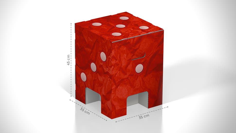 Sgabello in cartone con grafica dado | tictac.it