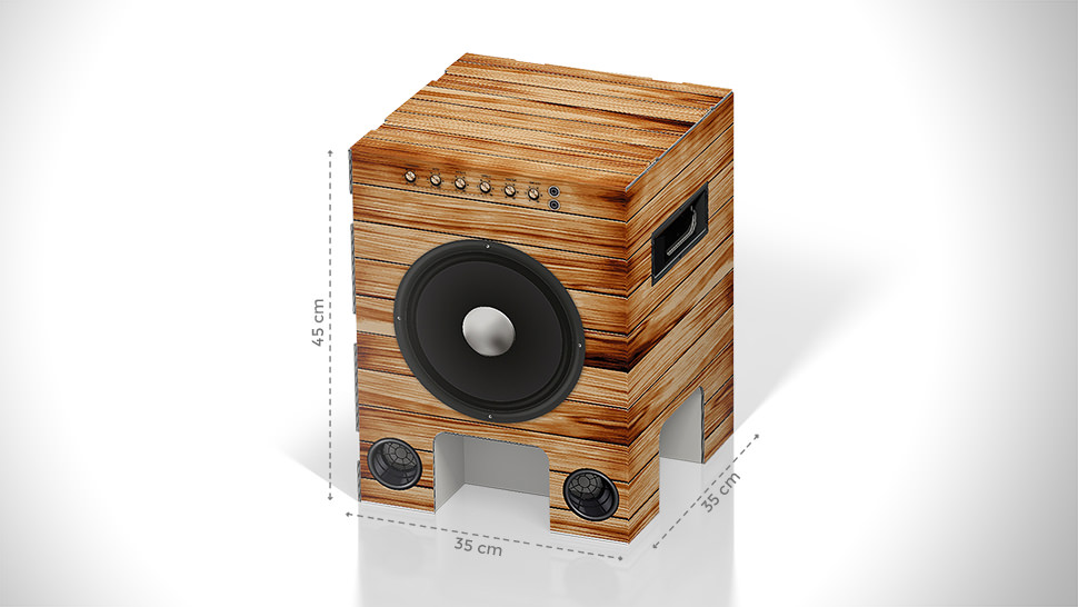 Sgabello in cartone con grafica stereo | tictac.it