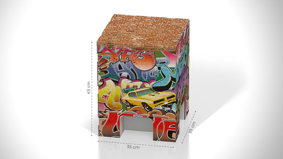 Sgabello in cartone con grafica gaffiti   tictac.it