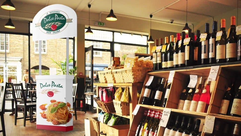 Banchetto in cartone per negozi alimentari  | tictac.it